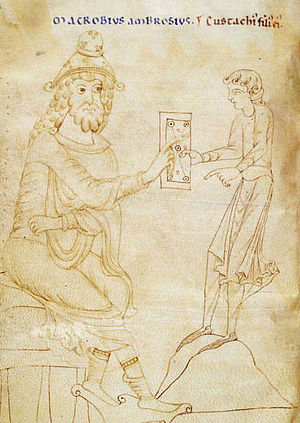 Macrobius - Macrobius presenting his work to his son Eustachius. From an 1100 copy of Macrobius' Dream of Scipio.