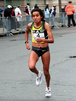 Madaí Pérez op de Boston Marathon 2007