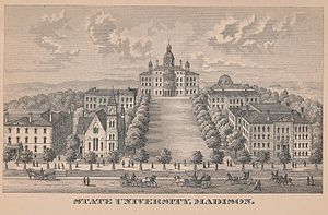 University of Wisconsin–Madison - An early illustration of the campus, from the 1885 edition of the Wisconsin Blue Book.