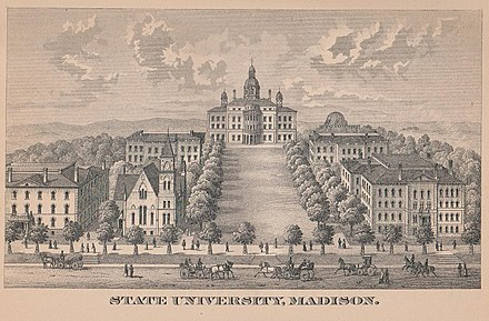 An early illustration of the campus, from the 1885 edition of the Wisconsin Blue Book. Madison State University.jpeg