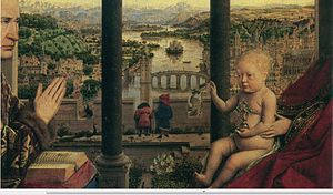 Madonna of Chancellor Rolin - Detail showing the church over Rolin's hands, and the cathedral over Christ, the flowers in the garden and the squashed rabbits of Lust.