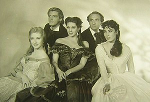 Magic Fire - Film still of cast members (from left) Valentina Cortese, Carlos Thompson, Yvonne De Carlo, Alan Badel, and Rita Gam.