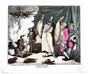 """Humbug - Humbugging, or raising the Devil, 1800. Rowlandson's humbugging depicts the public as a credulous simpleton being distracted by a display of """"the miraculous"""", the better to have his pockets picked."""