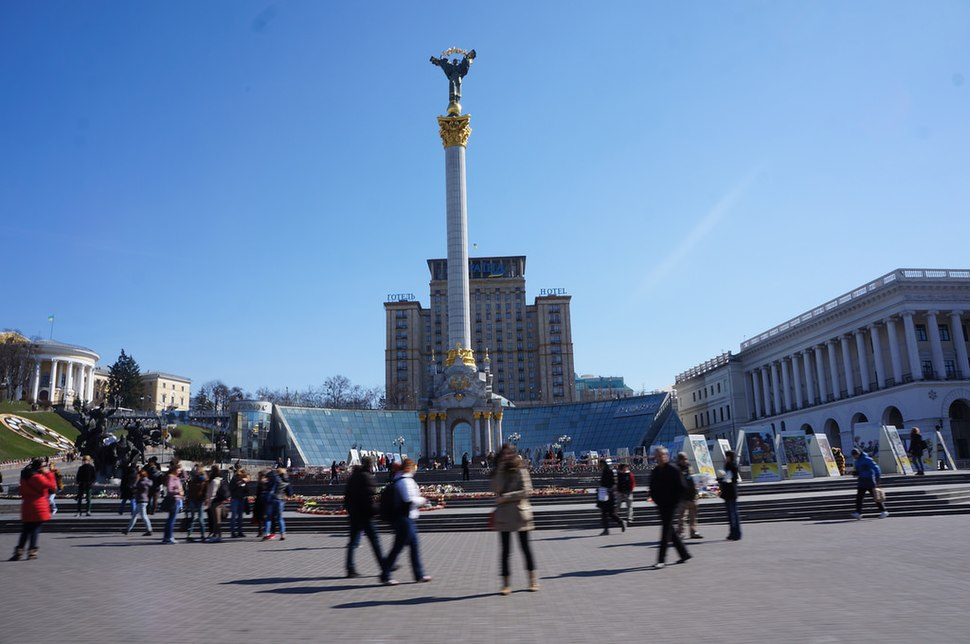 Maidan Nezalezhnosti after a 2002 renovation, in the exact spot where the City Duma once stood. Instytutska Street is to the far left.