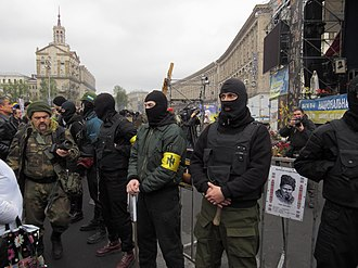Right Sector - Patriot of Ukraine members standing guard at a Right Sector event, Euromaidan, Kiev, 13 April 2014