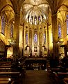 Main altar and entrance to the crypt - Cathedral of Barcelona - Barcelona 2014.jpg