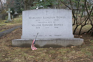 Edward Bowes - The grave of Major Edward Bowes and wife Margaret Illington in Sleepy Hollow Cemetery