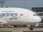 Malaysian Airlines A380 9M-MNF (The 100th A380) (27348673604).jpg