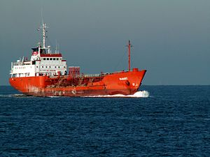 Mamry at locks approaching Port of Rotterdam, Holland 23-Jan-2006.jpg