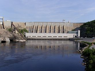 Quiet Revolution - Hydro-Québec's Jean-Lesage generating station, formerly known as Manic-2, built between 1961 and 1965.