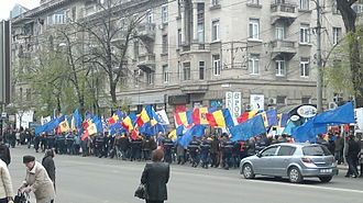 Unification of Romania and Moldova - Pro-Romanian demonstration in Chișinău, on 6 April 2014