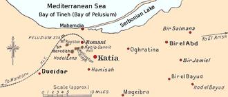Battle of Katia - Map of the Katia and Romani area