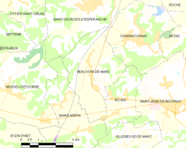 Mapa obce Beauvoir-de-Marc