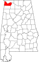 Map of Alabama highlighting Colbert County.svg