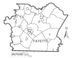Location of Everson in Fayette County
