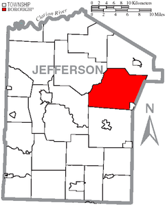 Map of Jefferson County, Pennsylvania Highlighting Washington Township.PNG