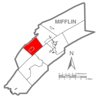 Map of Mifflin County, Pennsylvania highlighting Union Township