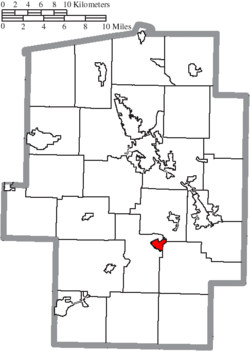 Location of Gnadenhutten in Tuscarawas County