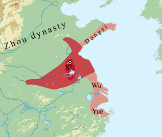 Xu (state) - Xu at its greatest extent in the mid 8th century BC. 1) dark red: Xu heartland; 2) red: Xu-led Huaiyi confederation; 3) pink: Xu allies or under Xu influence.