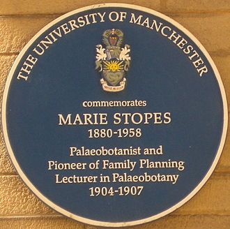 Marie Stopes - Blue plaque commemorating Marie Stopes at the University of Manchester