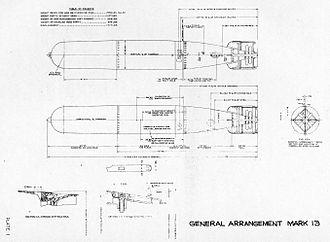Mark 13 torpedo - Mark 13 torpedo's general arrangement, as published in a service manual