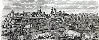 Johann Grüninger - Ink drawing of Markgröningen by Jakob Gottfried