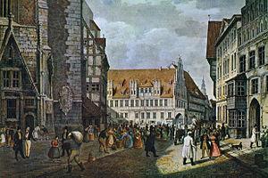 Rudolf Wiegmann - The Marktplatz in Hanover