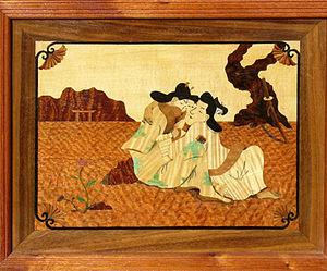 Marquetry - Two Lovers – example of sand-shading and shellac-inking