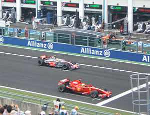 2007 French Grand Prix - Felipe Massa and Lewis Hamilton line up on the front row of the starting grid