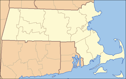 Location of Myles Standish State Forest in Massachusetts