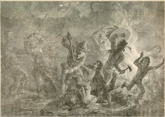 In June 1704, a force of 500 New Englanders raided the settlement of Grand-Pre, defended by the Acadian and Mi'kmaq militia. MassacreOfTheIndiansByOrderOfChurch.png