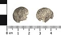 Medieval coin, Venetian soldino of Doge Michele Steno (Obverse and reverse). (FindID 593430).jpg