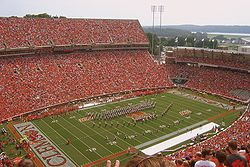 A view of the West End Zone and Lake Hartwell from the upper deck of the North stands. Sept. 2006