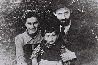 "Benny Begin - Image: Menahem Begin during his ""Rabbi Sassover"" period with wife Aliza and son Benyamin Zeev in Tel Aviv"
