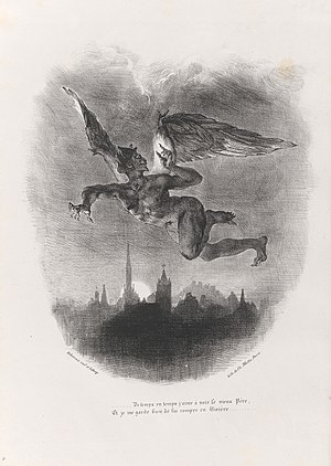 Mephistopheles - Mephistopheles flying over Wittenberg, in a lithograph by Eugène Delacroix.