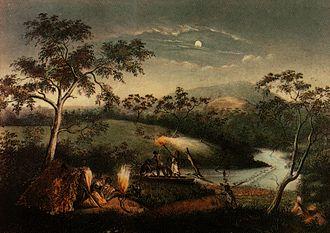 Merri Creek - Aborigines on Merri Creek by Charles Troedel, 1865