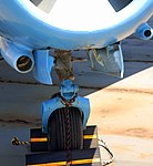 MiG-1F 'Fresco C' nosewheel and cannon detail, Intrepid Sea, Air and Space Museum, New York. (39640339363).jpg