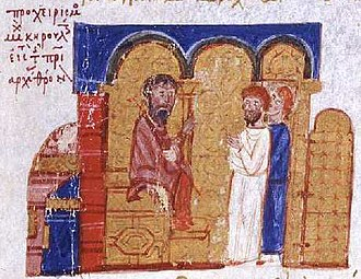 Isaac I Komnenos - Patriarch Michael Keroularios on his throne, from the Madrid Skylitzes