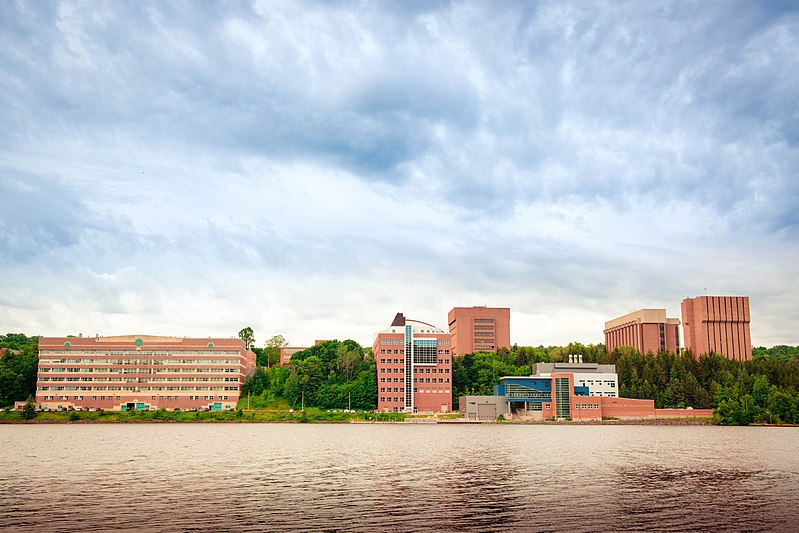 Michigan Tech campus as viewed from across the Portage Canal