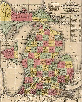 Great Lakes Patrol - An 1853 map of Michigan.