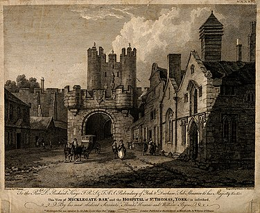 A 1782 engraving showing Micklegate Bar which notes earlier repairs Micklegate Bar, Hospital of St. Thomas, York, England. Engra Wellcome V0014644.jpg