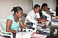 Microscopists from provincial medical facilities receive training under the supervision of the Chief Microscopist in Port Vila, Vanuatu 2012. Photo- Paul McGinty - AusAID (10702279836).jpg