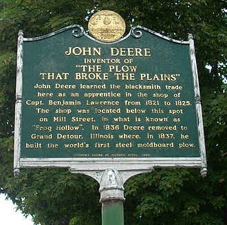 John Deere (inventor) - A monument in Middlebury, Vermont marking the shop in the town where John Deere learned the blacksmith trade.