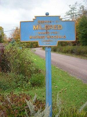 Mildred, Pennsylvania - Keystone Marker for Mildred.