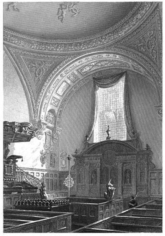 St Mildred, Bread Street - The original interior with Baroque furnishing and the main altar.