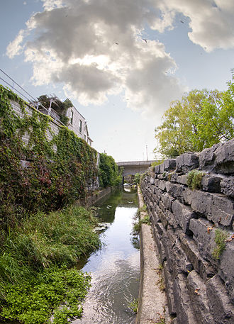"St. Marys, Ontario - The ""Mill Race"" a 19th-century limestone canal to divert water from the Thames River to the mills"