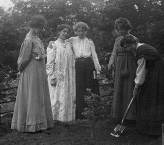 Mary Phillips (suffragette) - Millicent Browne planting a tree at Eagle House (suffragette's rest) with Mary Phillips, Vera Wentworth, Elsie Howey and Annie Kenney