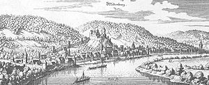 Miltenberg - Miltenberg – excerpt from the Topographia Hassiae by Matthäus Merian the Younger, 1655