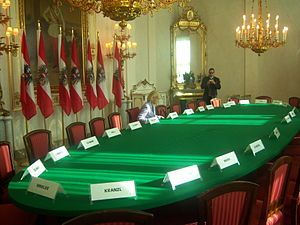Chancellor of Austria - Cabinet room in the Austrian Chancellery.