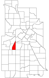 Location of Lowry Hill East within the U.S. city of Minneapolis